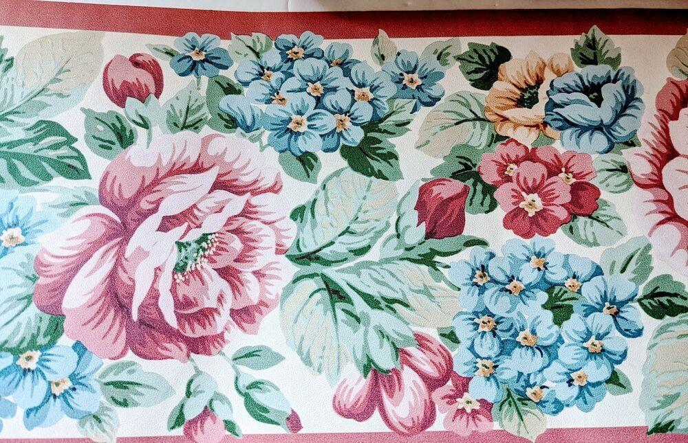 Vintage Wallpaper Border Soft Pink Beige Blue Flowers