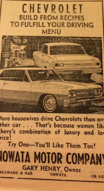 1960s Ad For Nowata Motor Company Chevrolet From Nowata Daily