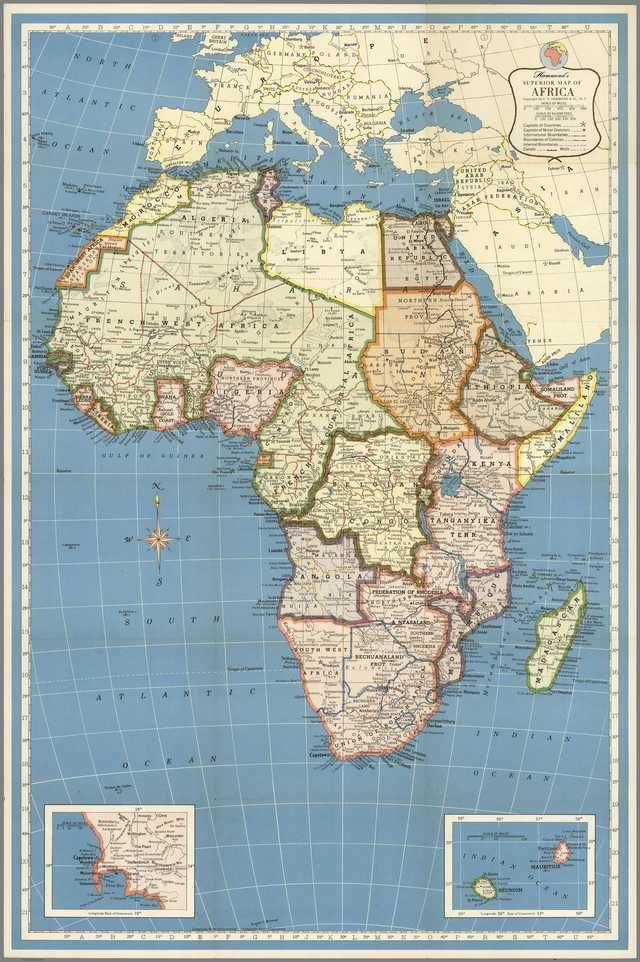 1957 National Geographic Map of Africa [3327 × 5000] | Sögukort