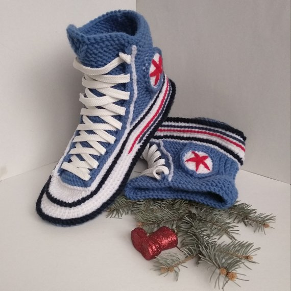 5b790622623 Knitted converse slippers Women s house slippers Knitted converse sneakers  Converse socks Socks with