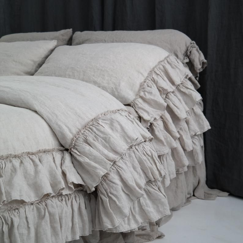 Linen Duvet Cover Set French Style Thick Ruffled Stonewashed Etsy Bed Linens Luxury Linen Duvet Covers Bed Linen Sets