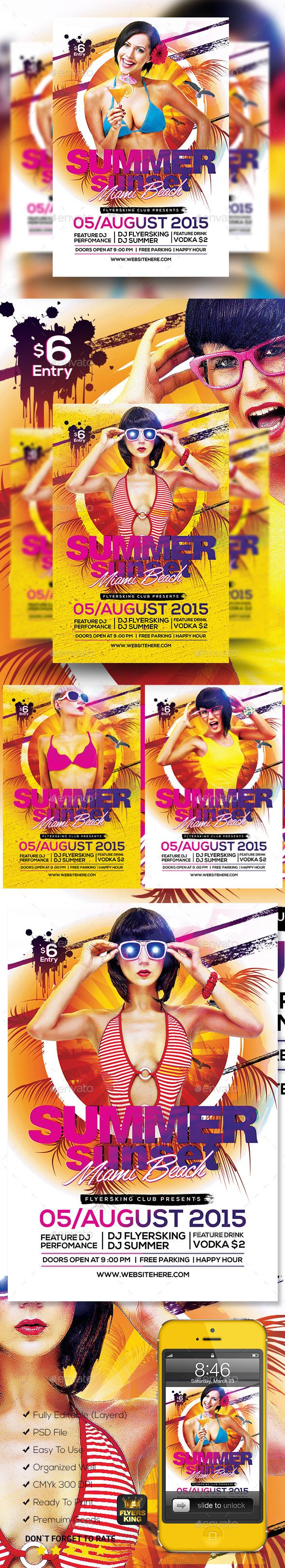 summer sunset psd flyer flyer template templates and psd flyer summer sunset psd flyer template design graphicriver net