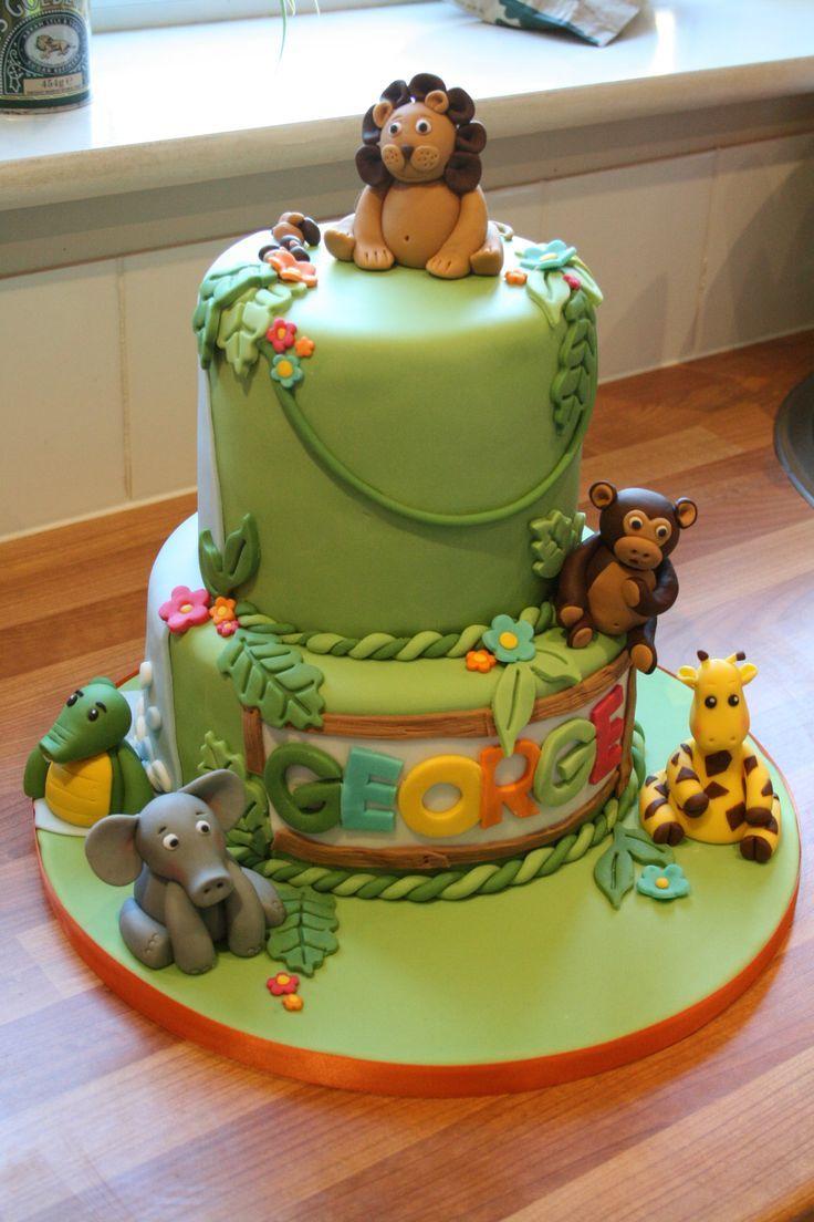 animal safari first birthday cake Google Search Safari