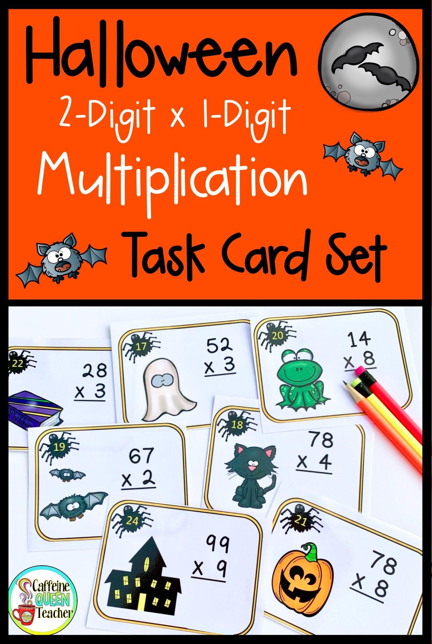 2 Digit Multiplication Halloween Task Cards