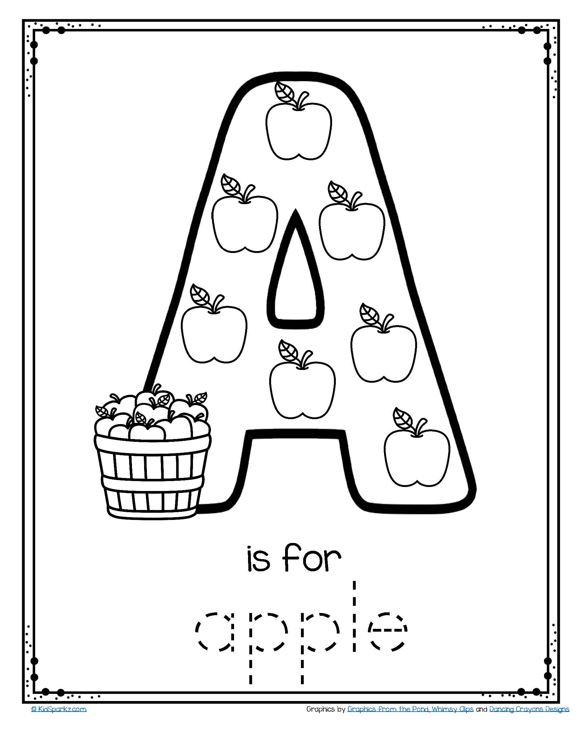 Letter A is for Apple Trace and Color Printable FREE