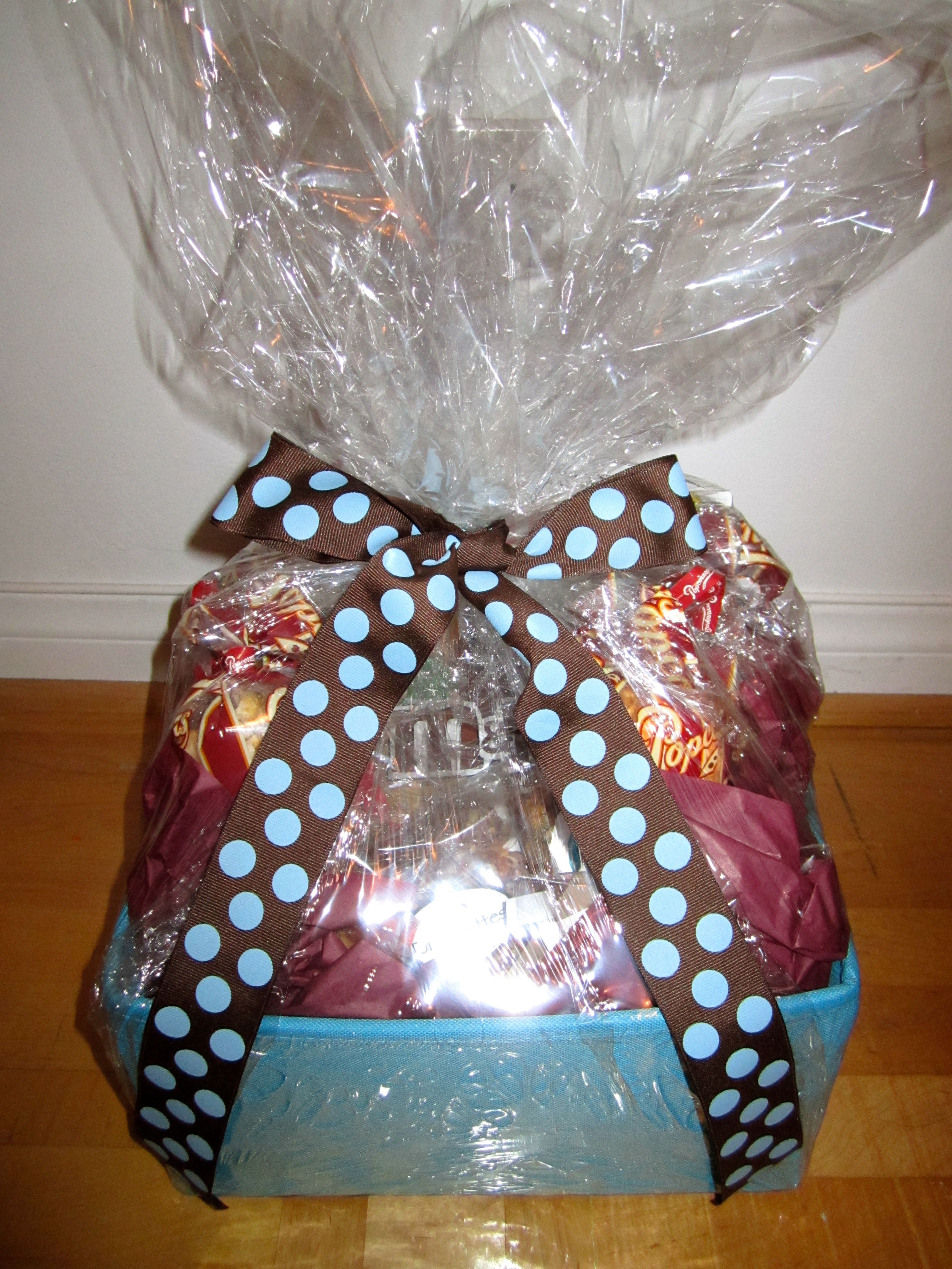 the finished basket. i have a weird love for shrink wrap.