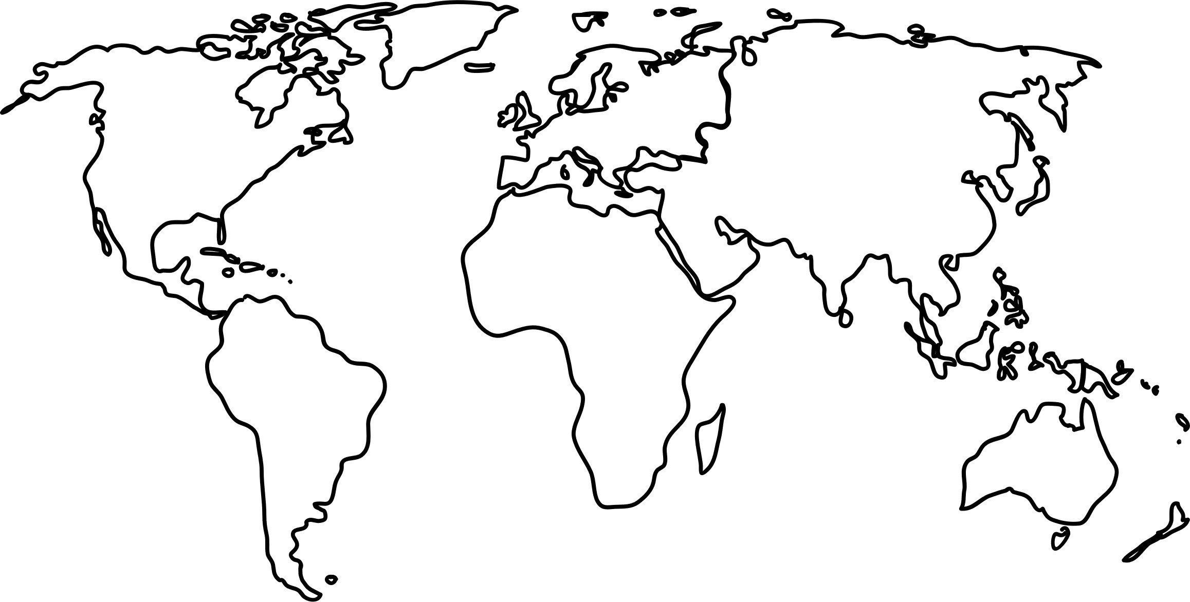 World Map Black And White Black And White World Map