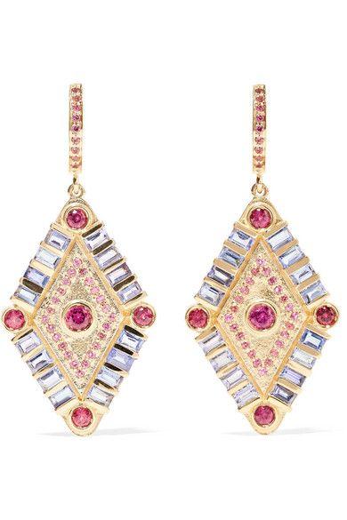 Marlo Laz Mini Eye 14-karat Rose Gold, Sapphire And Malachite Earrings