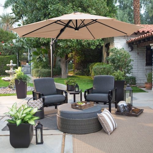 Aluminum Lighted Offset Umbrella U0026 Base   360 Rotation With Horizontal Tilt    Create The Perfect Shaded Ambiance On Your Patio With The Coral Coast 11  Ft.