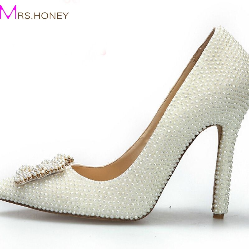 >> Click to Buy << Fashion Pointed Toe Pearl Wedding Shoes Ivory Color Bridal Dress Shoes Women Stiletto Heel Single Dress Pumps Genuine Leather #Affiliate