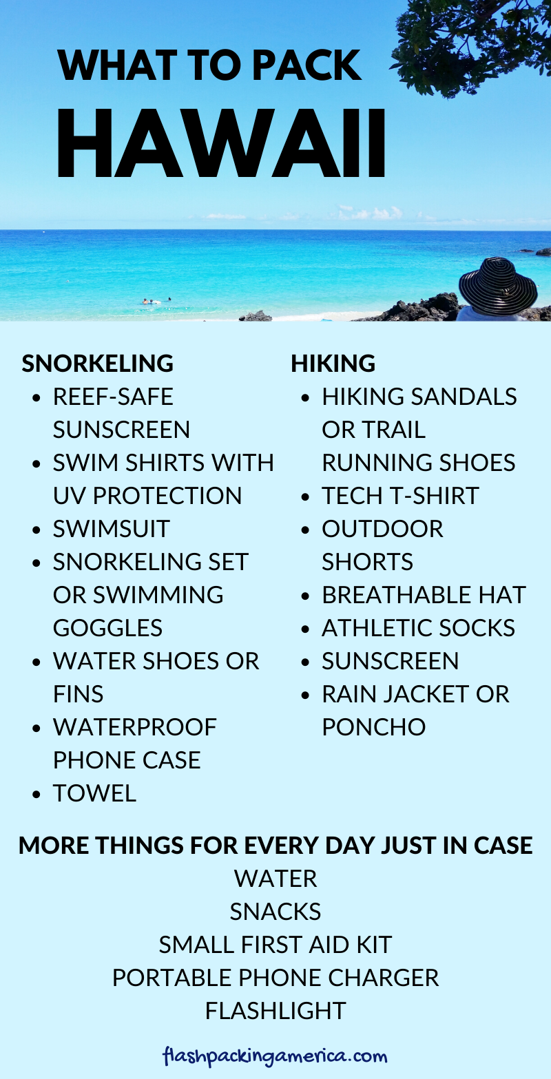 List of what to pack for Hawaii for outdoor vacation in the US