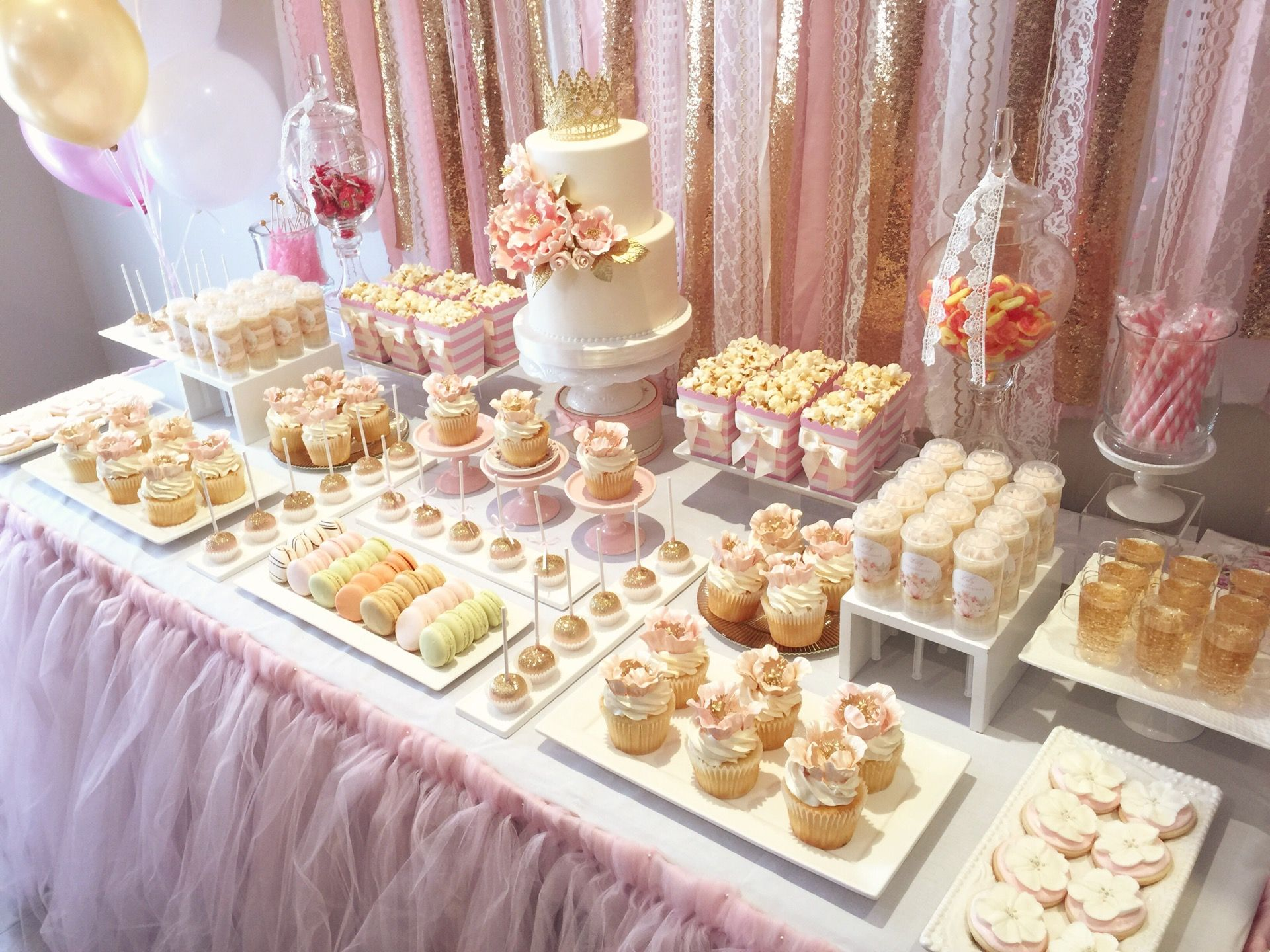 Pink And Gold First Birthday Theme Bobbette Belle Sweet Table