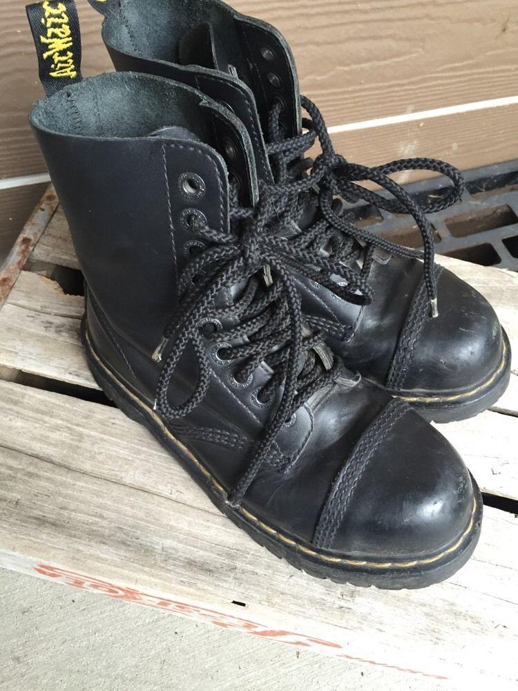Dr Martens 10966 Airwair Men S 8 Black Leather Steel Toe Ankle
