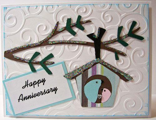 Wintry anniversary card. i used the cricut winter frolic cartridge