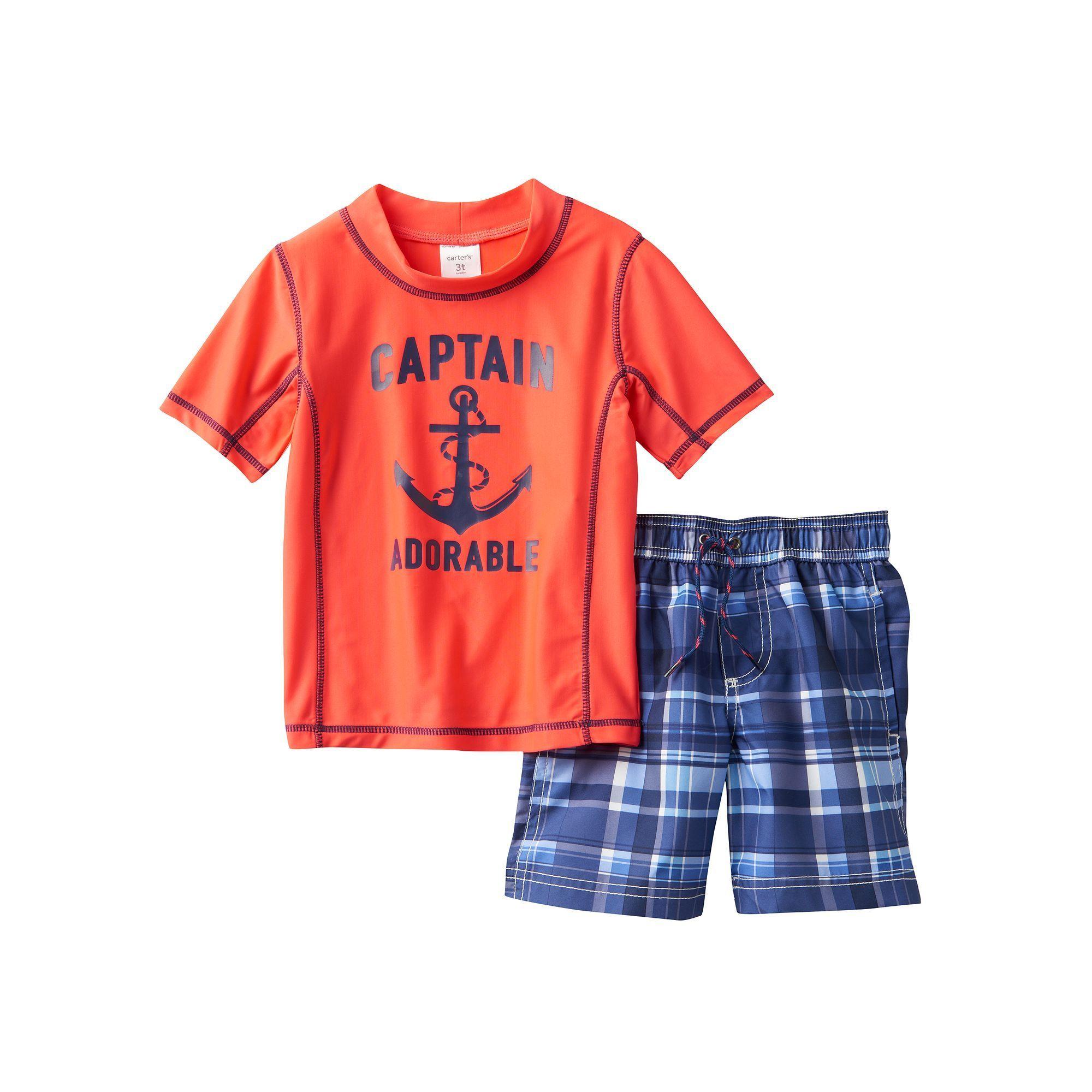 """Baby Boy Carter s """"Captain Adorable"""" Anchor Rashguard & Swim Trunks"""