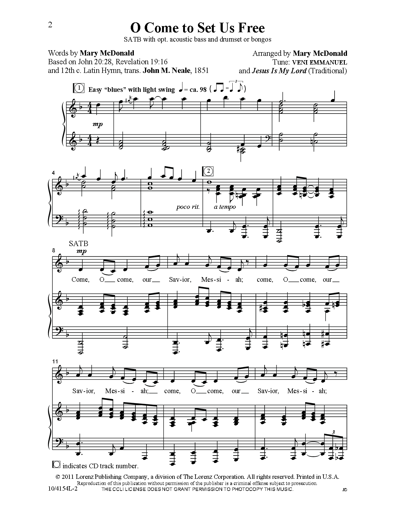 O Come To Set Us Free (SATB ) arr  Mary McDo | J W  Pepper Sheet
