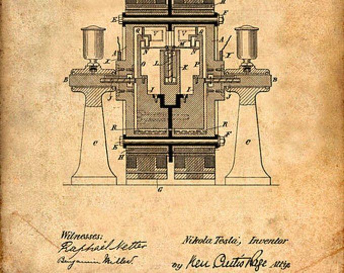 Tesla Generator Patent Print Tesla Generator Art Print   Tesla ...