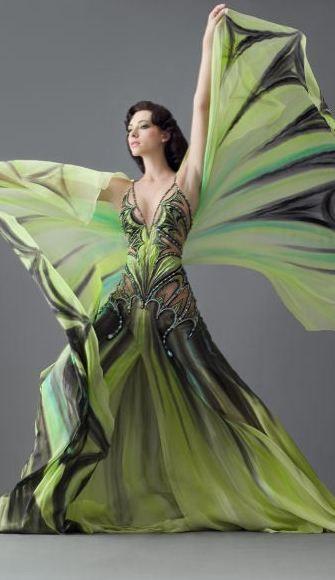 Blanka Matragi - chartreuse butterfly gown