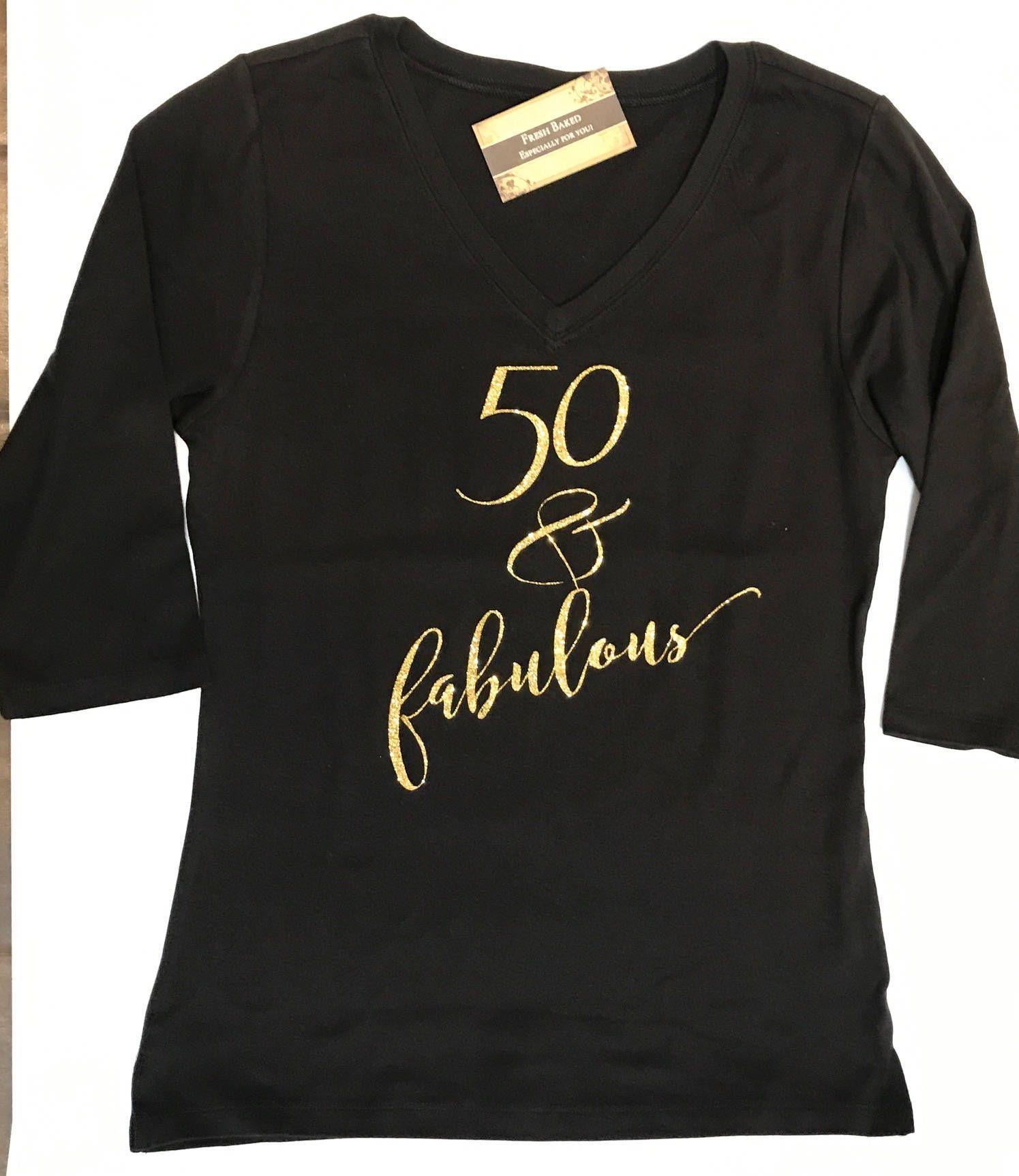 Custom Glitter Women's 50 & fabulous Glam 50th Birthday 50