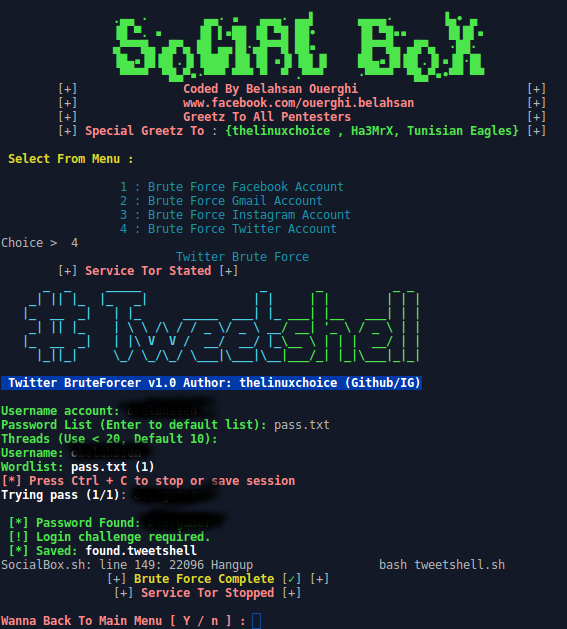 SocialBox A Bruteforce Attack Framework (Facebook, Gmail