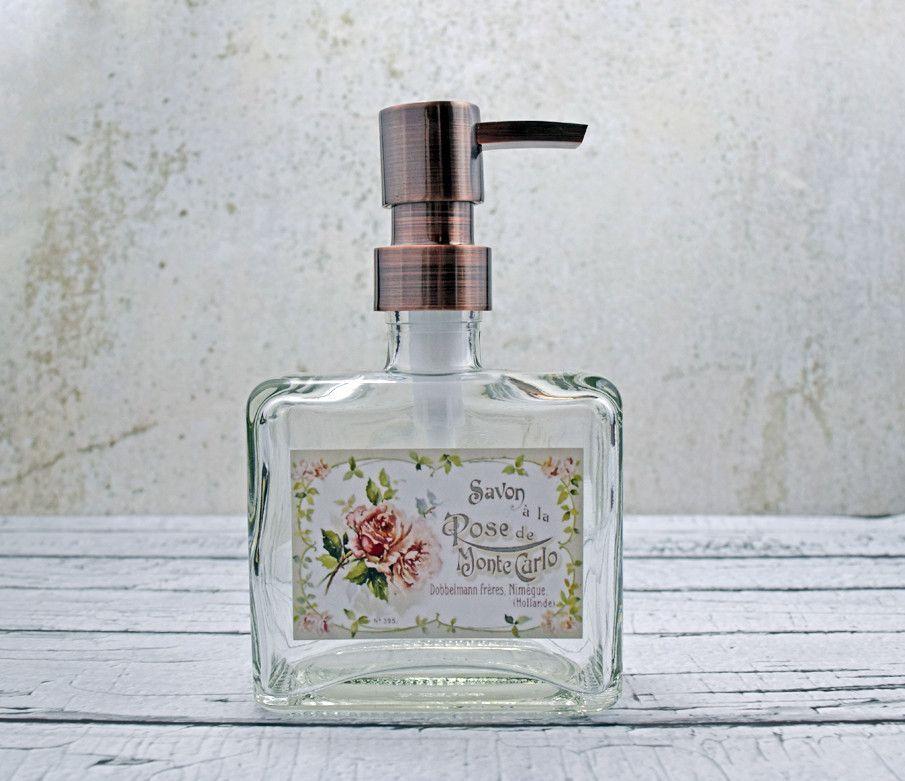 Square Cottage Rose Soap Dispenser Shabby chic bathrooms
