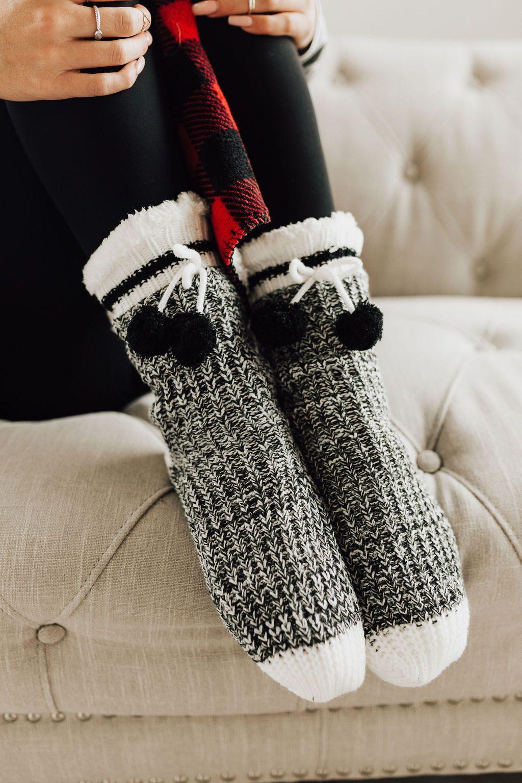 Cabin Sherpa Lounge Slipper Socks Black Slipper Socks