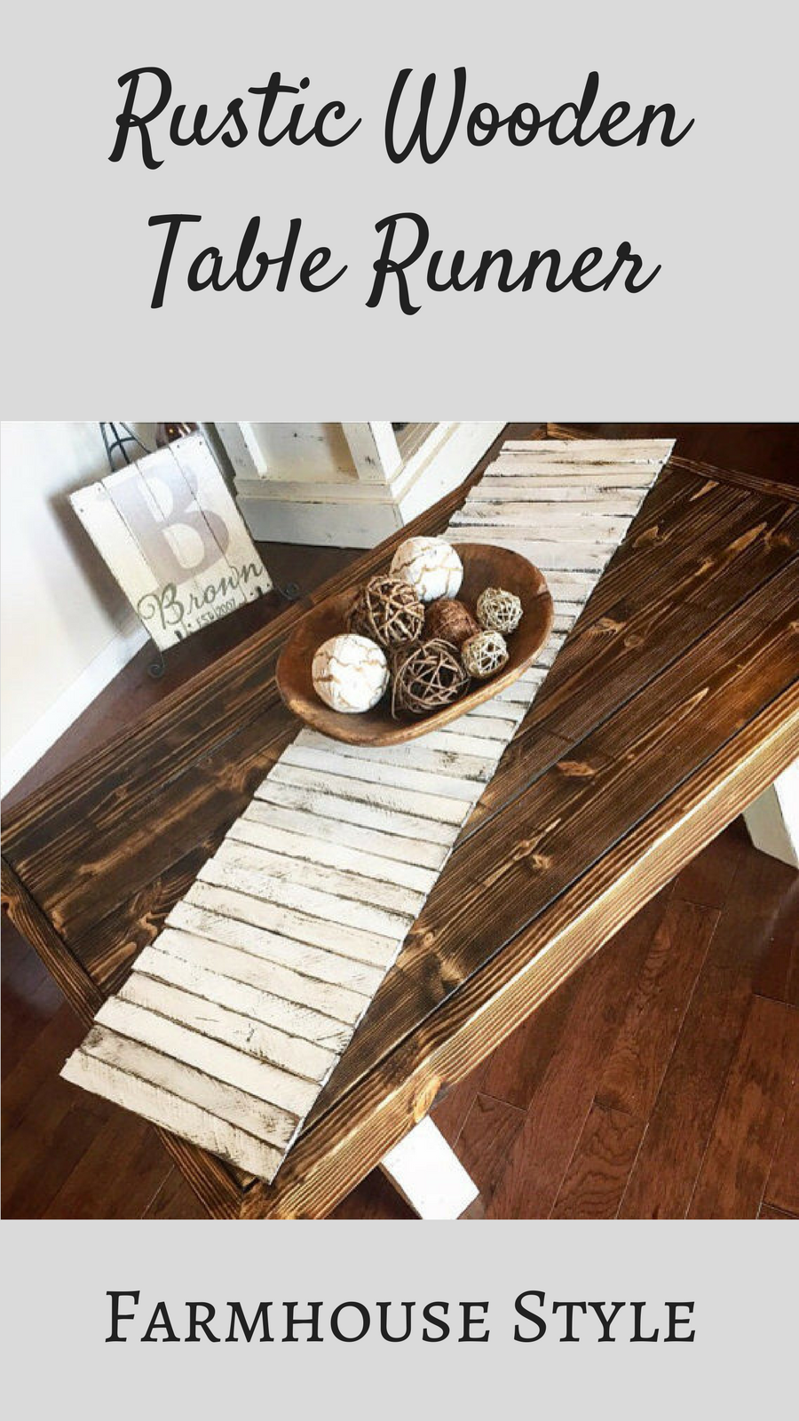 This Rustic Wooden Table Runner Would Be Perfect On A Farmhouse Table  #farmhouse #ad #tablerunner #table #homedecor #kitchen #diningroom  #fixerupper #wood # ...