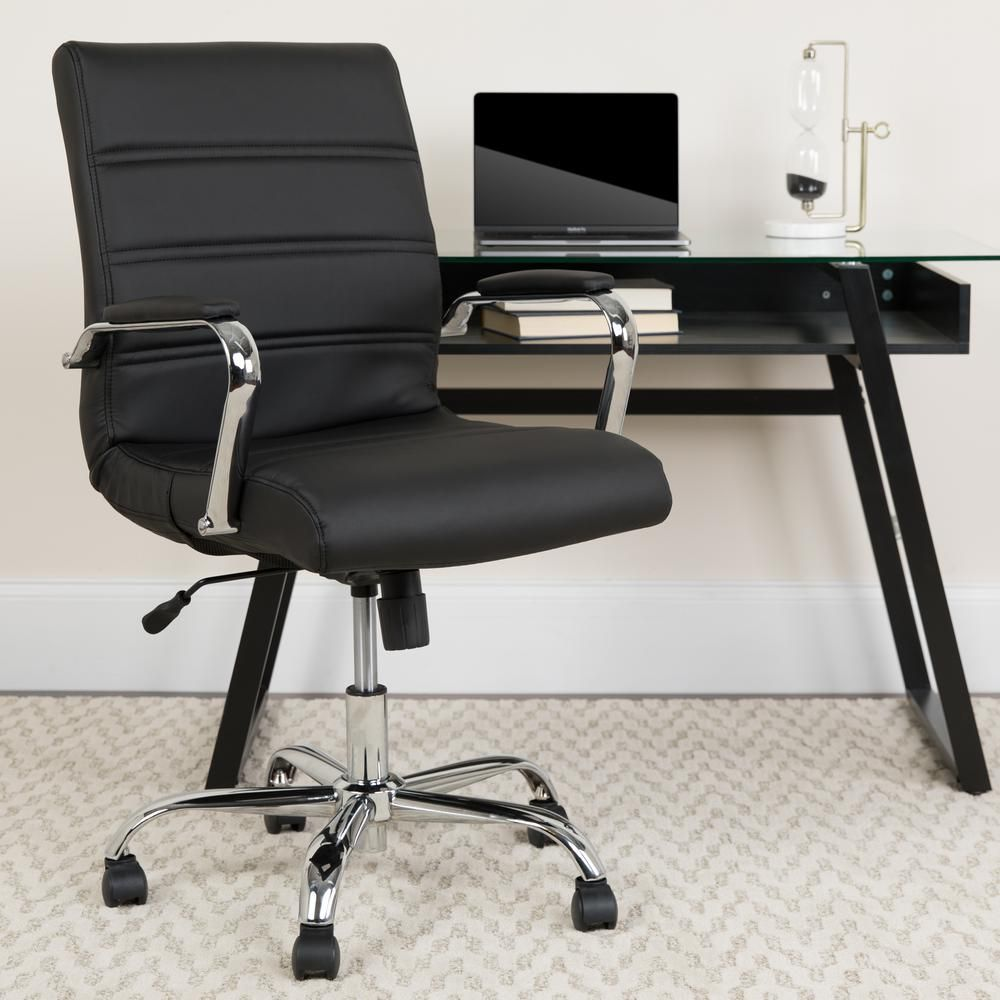 Flash Furniture Black Office Desk Chair Black Leather Chrome