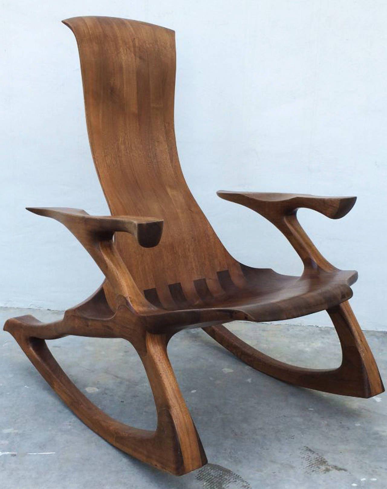 Craftsman Sculpted Walnut Rocking Chair 1stdibs Com Walnut