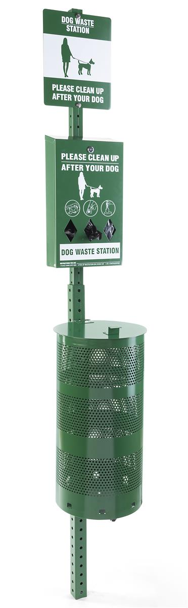 "95""h Pet Waste Station with 15 Gallon Disposal Basket and"