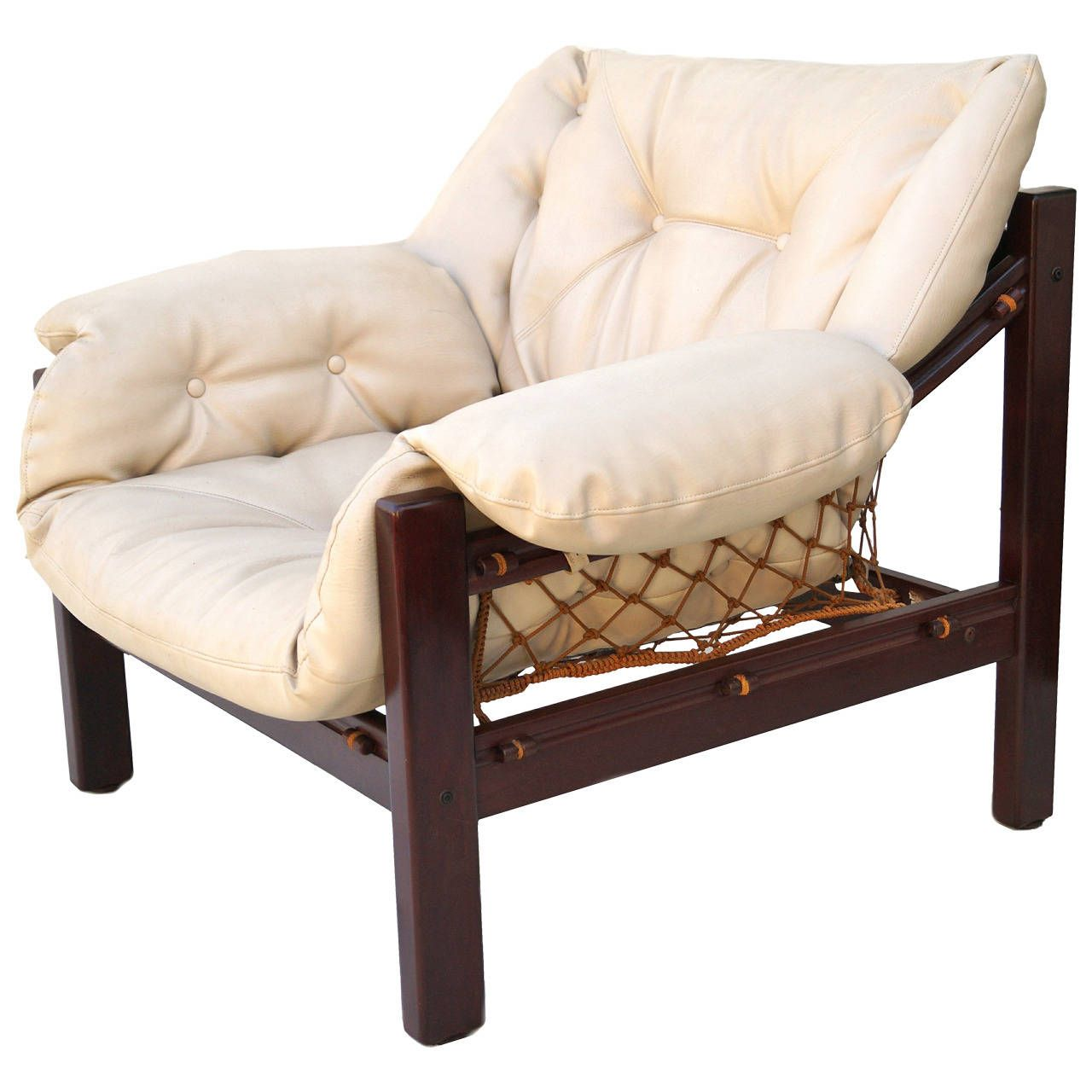 Antique lounge chairs - Jean Gillon Leather Sling Lounge Chair