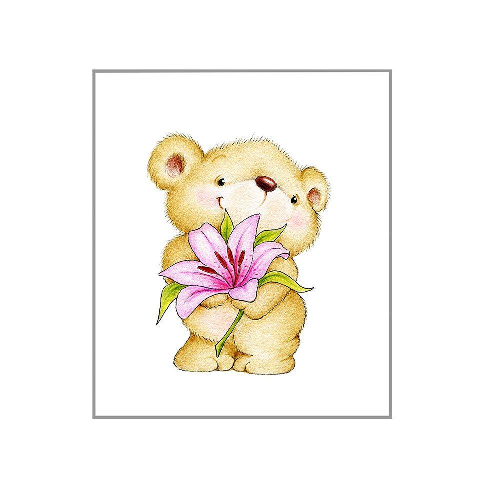 Teddy bear with Flower Nursery Art Print, Children Wall Decor, Kids ...