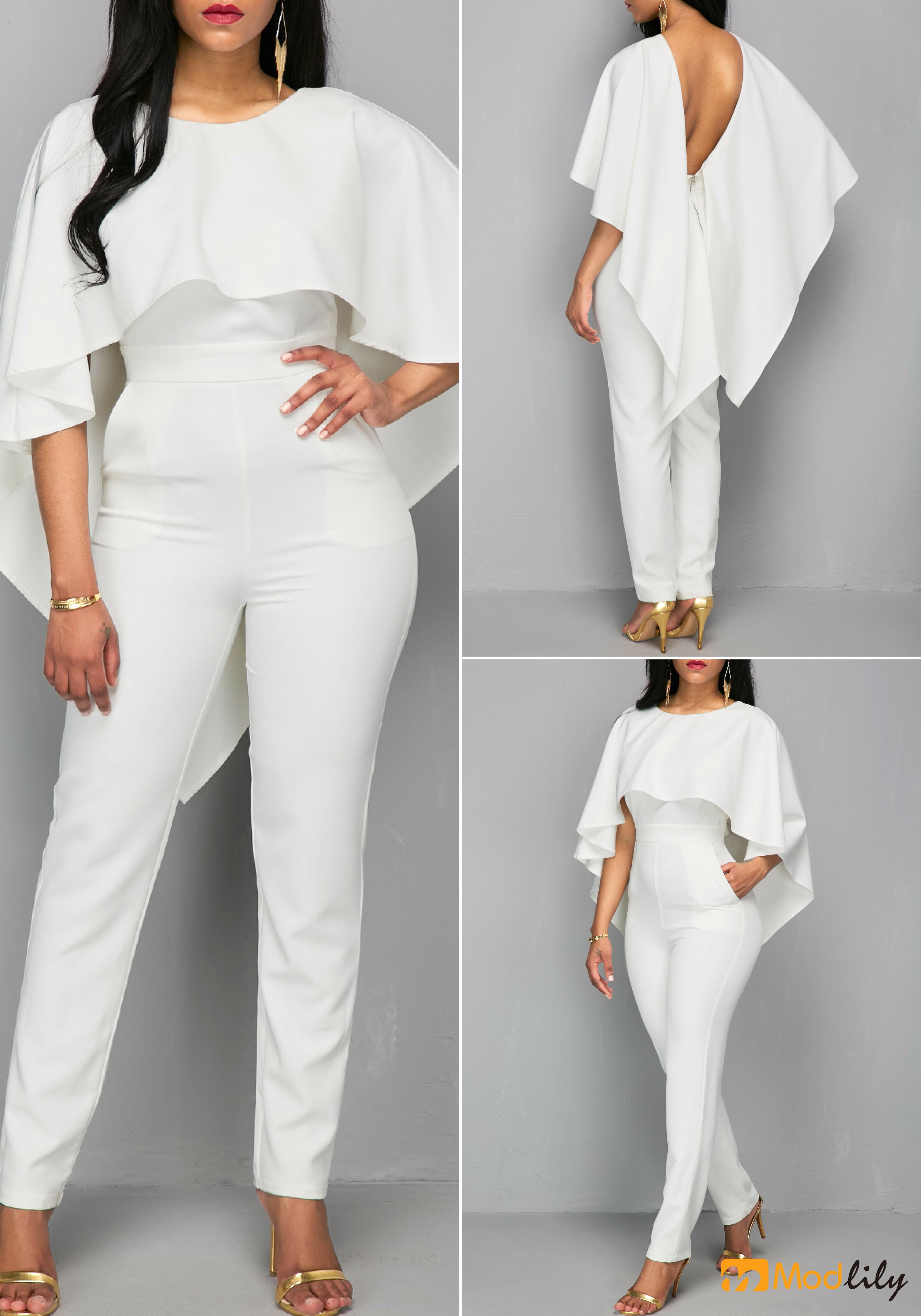 8193c923edef V Back Zipper Closure White Cloak Jumpsuit. Free shipping ...