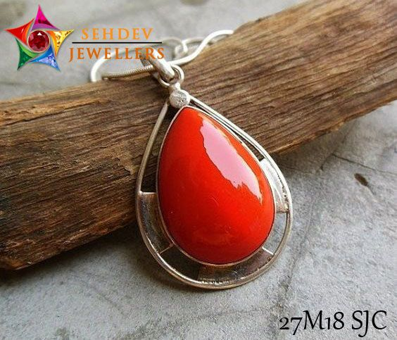 luxury item pendant natural array trendy red coral elegant gemstone women necklace clouds silver