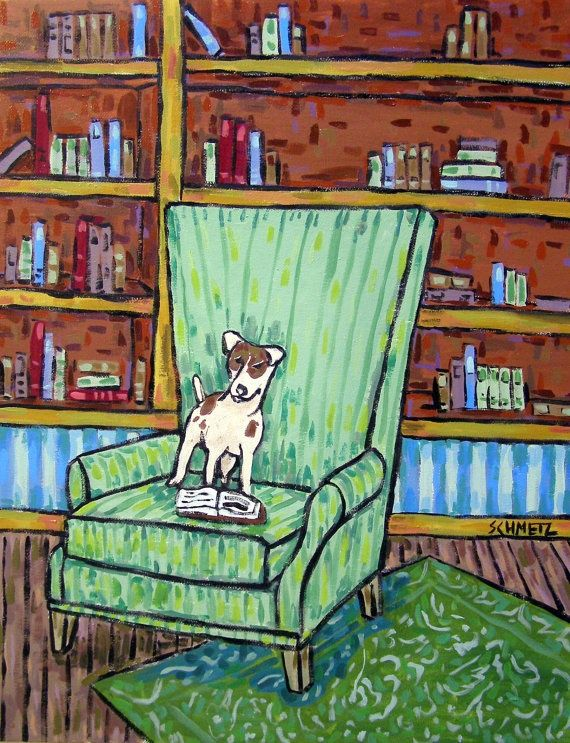 MALAMUTE dog reading library art  dog art print prints 8.5x11