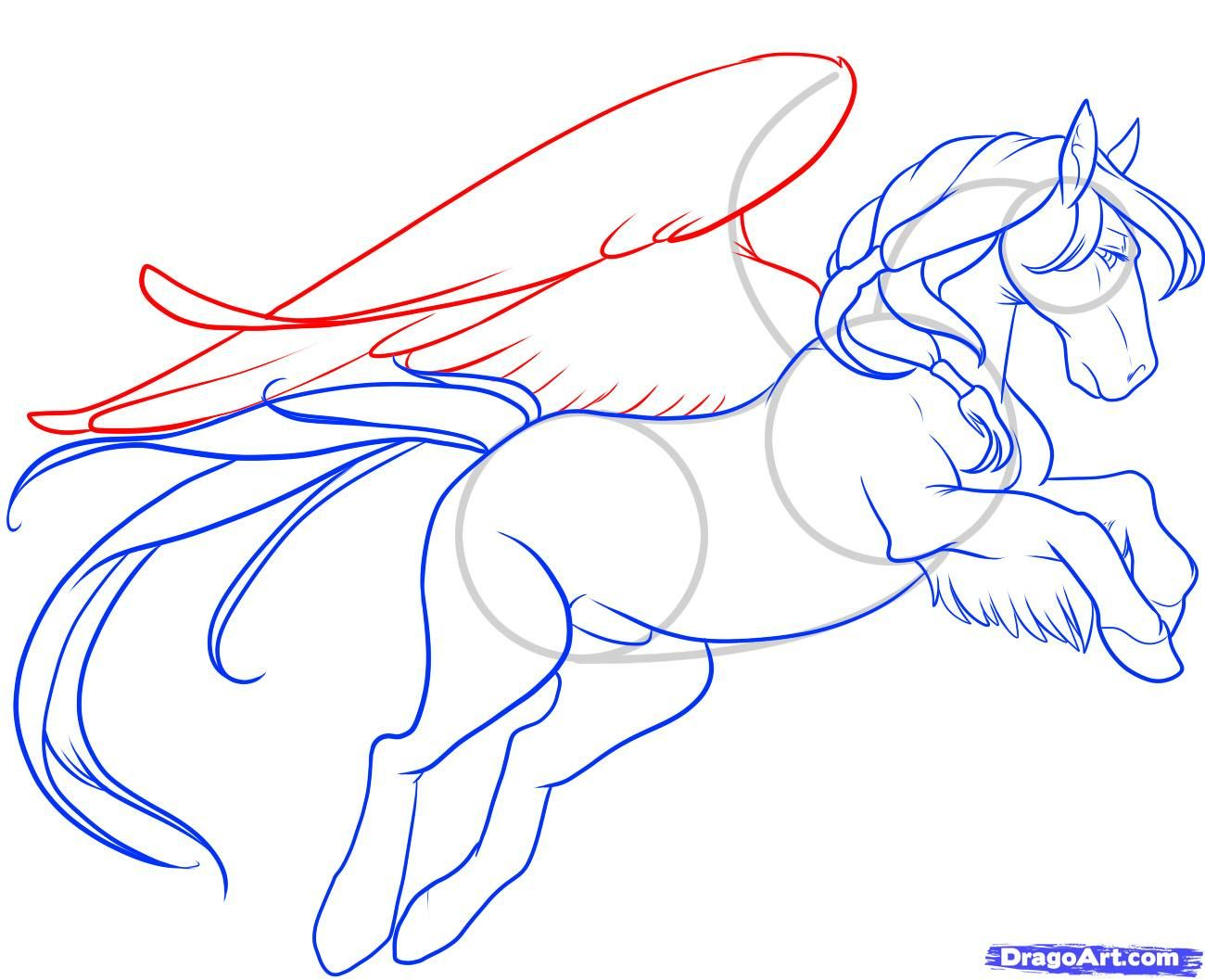 Draw A Flying Horse, Flying Horse, Step By Step, Drawing Sheets