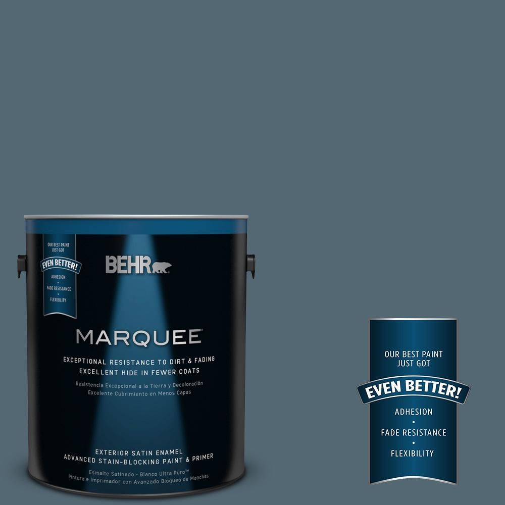 Behr Marquee 5 Gal 540f 6 Distance Satin Enamel Exterior Paint Primer 945305 The Home Depot Behr Marquee Behr Marquee Paint Exterior Paint