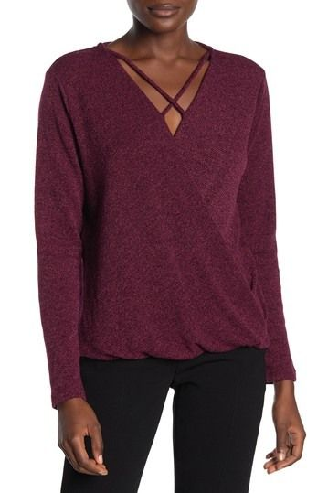 Pleione | Surplus Wrap Cross Neck Top #nordstromrack