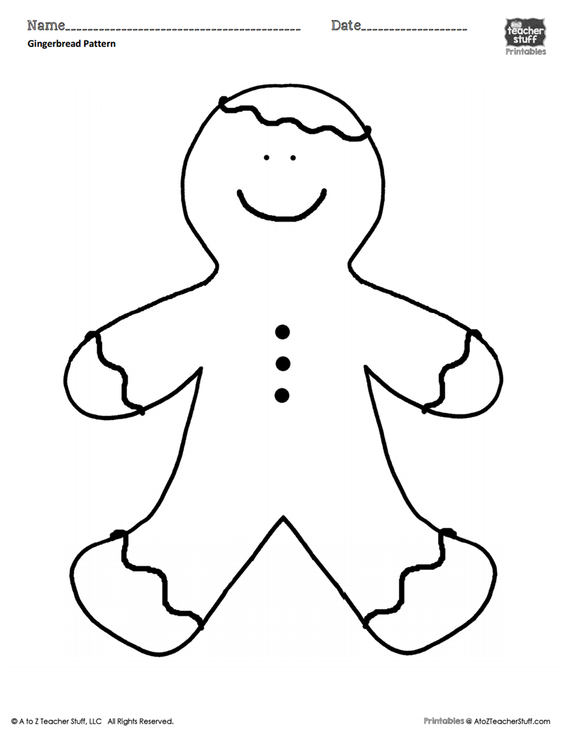Gingerbread Man Coloring Sheet or Pattern A to Z Teacher