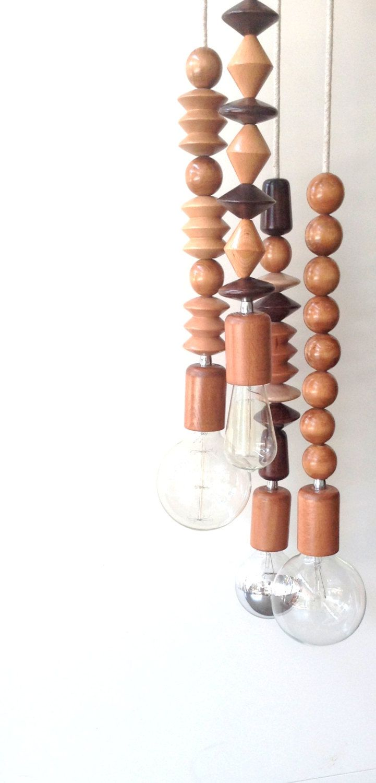 restoration industrial pendant lighting. Wood FOUR Bead Handmade Pendant Light Chandelier Edison Restoration Industrial Style Fabric Cables Wooden | Lighting, Chandeliers And Pendants Lighting I