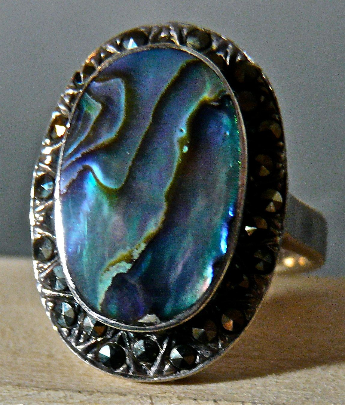 Vintage Silver Large Abalone Ring with by FourSailAccessories, via Etsy.