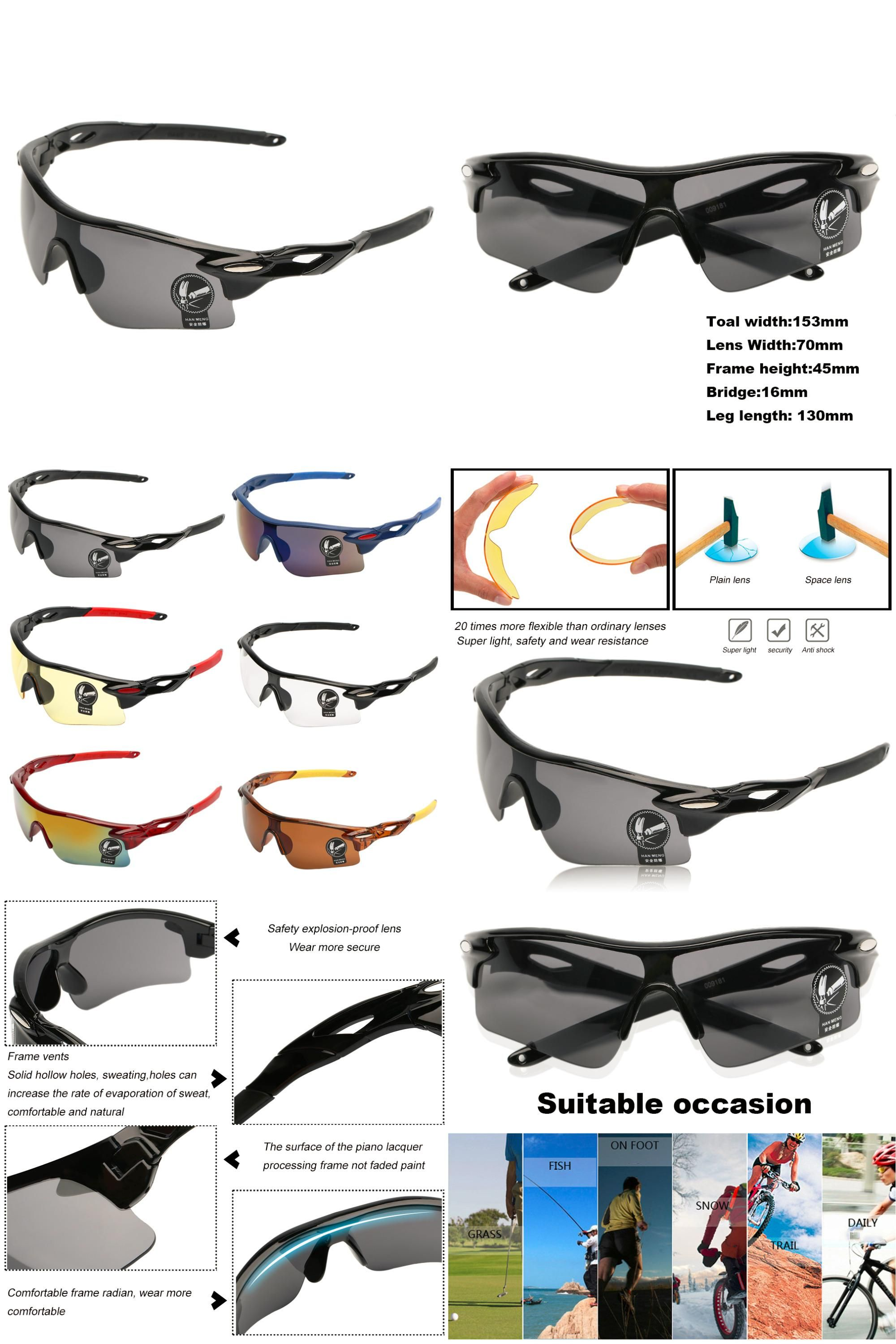 Anti-Impact Cycling Glasses Outdoor Sport Bike Sunglasses UV400 Bicycle Goggle
