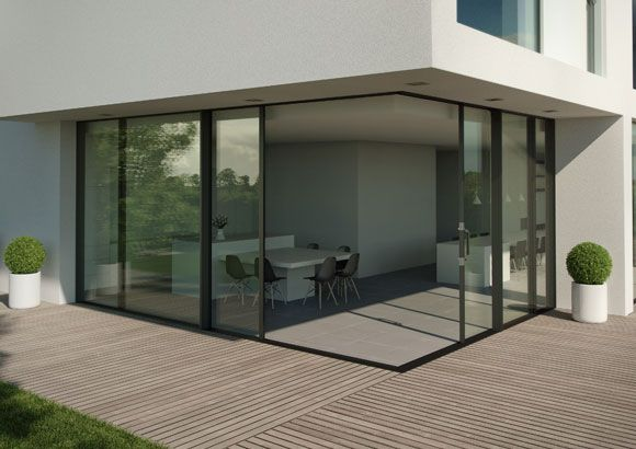Aluminium Doors That Meet In The Corner With No Fixed