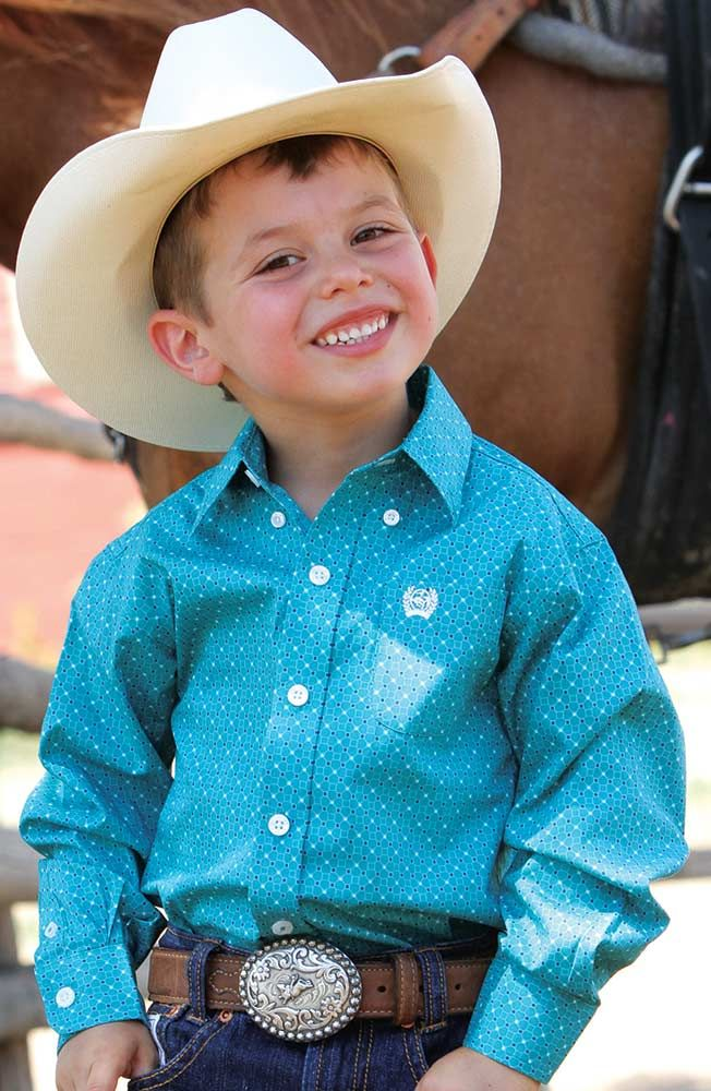 3ea19c841 Cinch Boys Long Sleeve Print Button Down Western Shirt - Teal $31.97 my boys  would look adorable in these outfits!