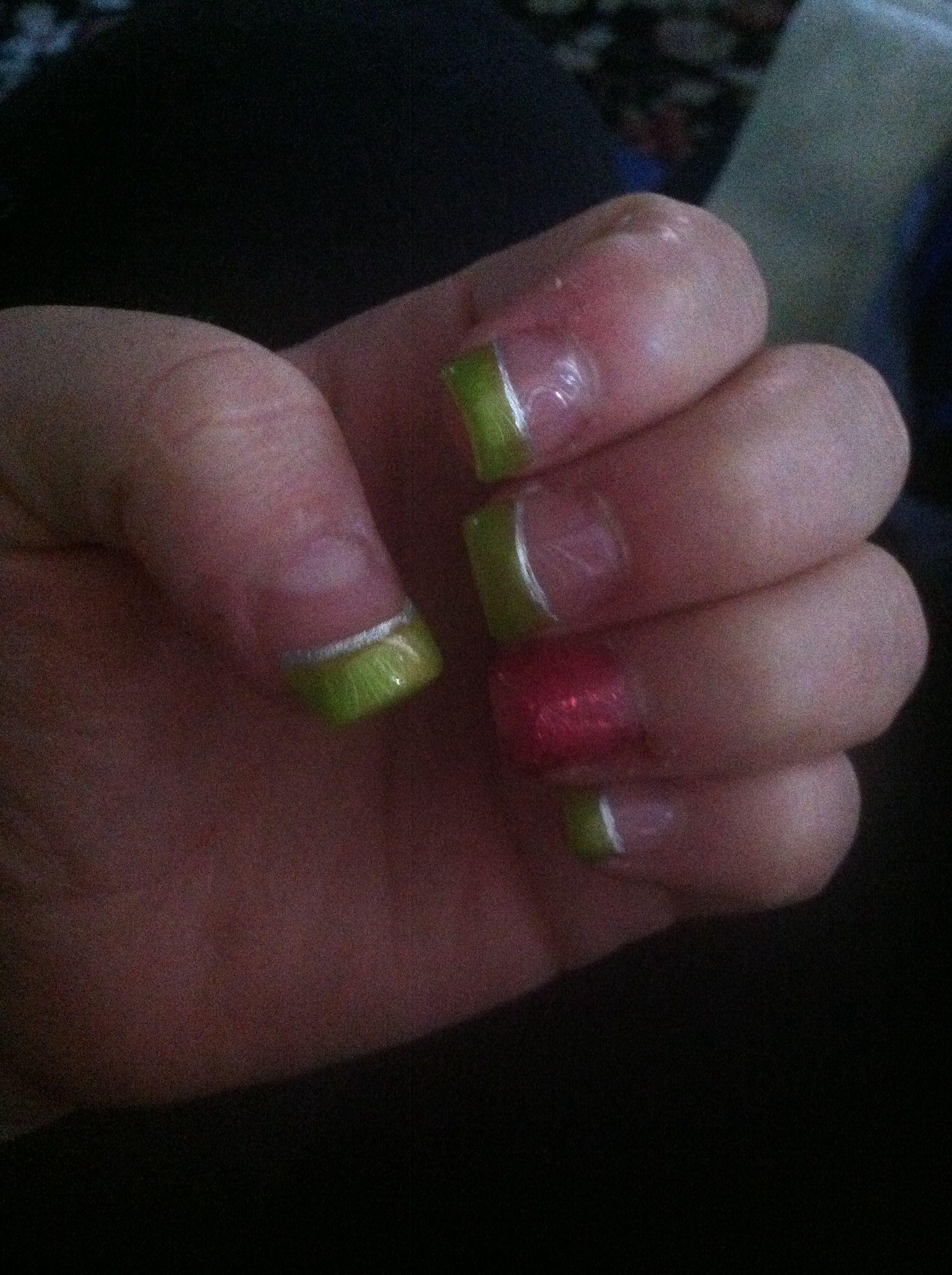 Green and pink summer nails