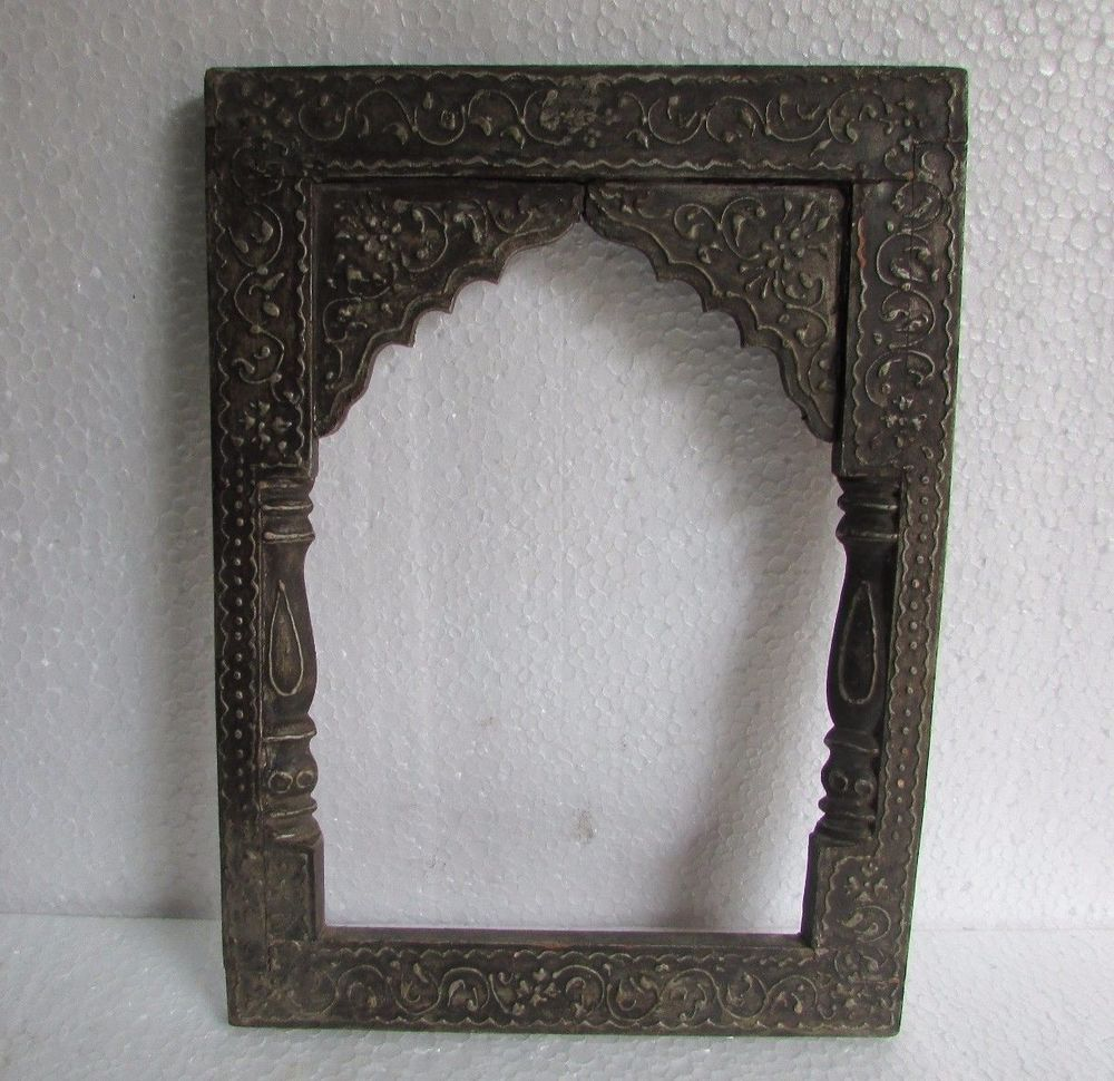 Vintage old hand carved unique shape wooden embossed painted vintage old hand carved unique shape wooden embossed painted mirror photo frame jeuxipadfo Choice Image