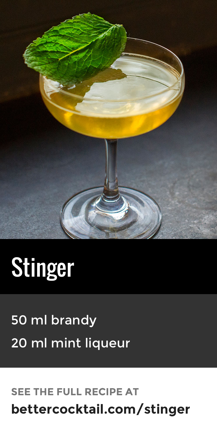 The Stinger Cocktail Is A Lesser Known Brandy Based Drink Made From Just Two Ingredients Cognac And Creme De Menthe A Mint Essen Und Trinken Essen Getranke