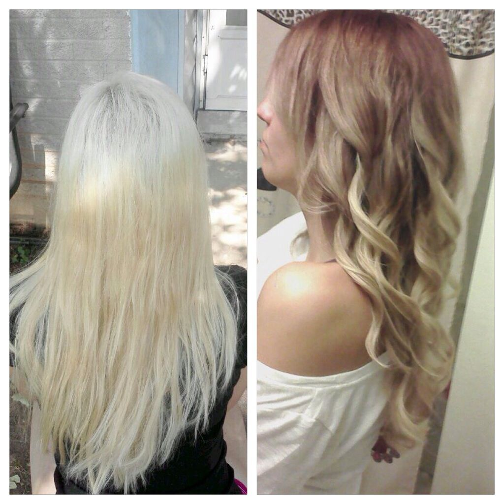 Platinum blonde to ombr brown before and after blonde for Blond braun ombre