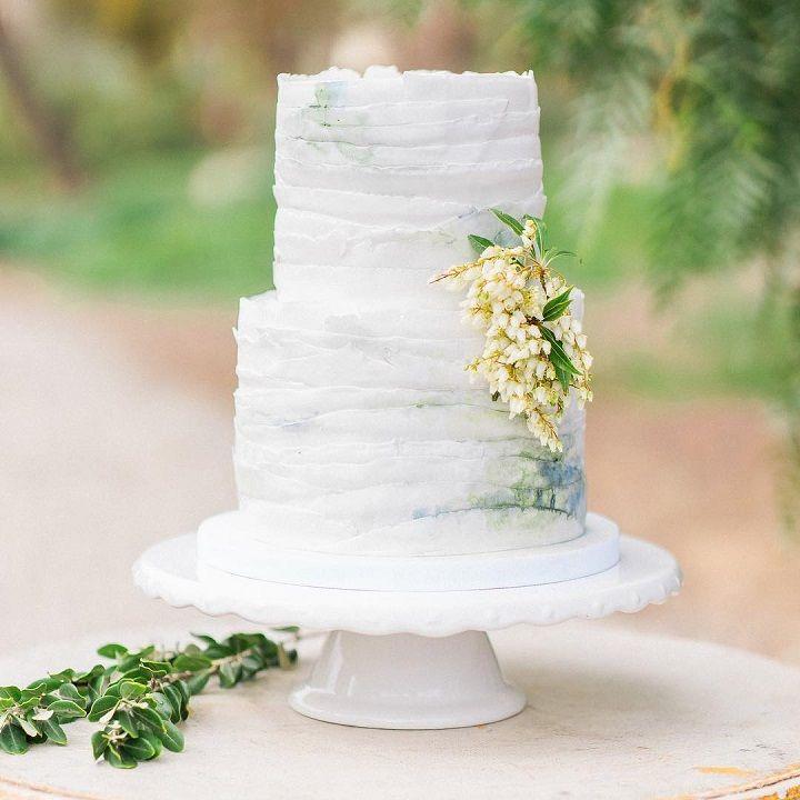 Blue watercolor wedding cake #weddingcake