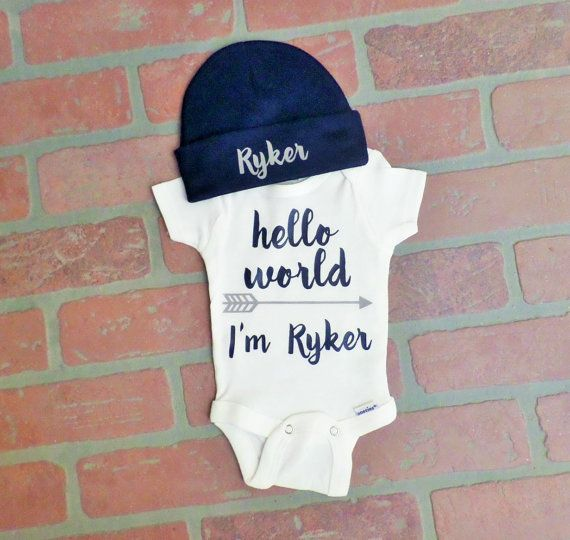 1c991d4d046 Personalized Boy s Hello World Onesie with navy beanie hat set. Boy s Bring  Home Outfit. Boy s Newborn Outfit. Take Home Outfit.